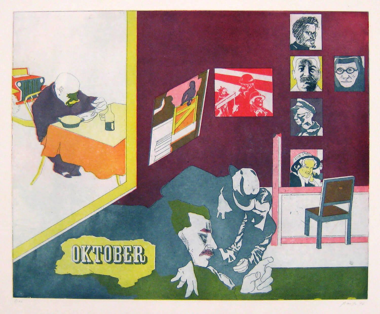 Ulrich Baehr, Ein Jahr aus dem Leben Stalins, Oktober, 1970, Farbradierung, Auflage: 10, 54 x 76 cm, Mappe mit 6 Motiven