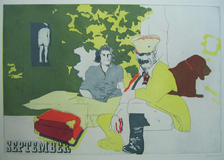 Ulrich Baehr, Ein Jahr aus dem Leben Stalins, September, 1970, Farbradierung, Auflage: 10, 54 x 54 cm, Mappe mit 6 Motiven