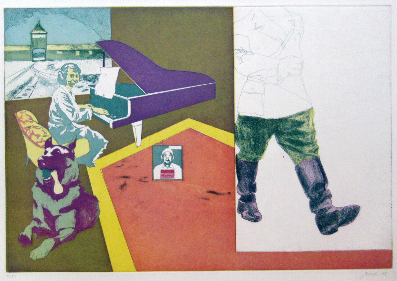 Ulrich Baehr, Sonderbeitrag: Einen Augenblick ruht die Arbeit. Der Führer fährt vorbei, 1970, Farbradierung, Auflage: 20, 54 x 76 cm, Mappe mit 5 Motiven