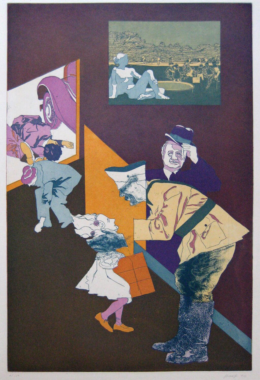 Ulrich Baehr, Sonderbeitrag: Einen Augenblick ruht die Arbeit. Der Führer fährt vorbei, 1970, Farbradierung, Auflage: 20, 76 x 54 cm, Mappe mit 5 Motiven