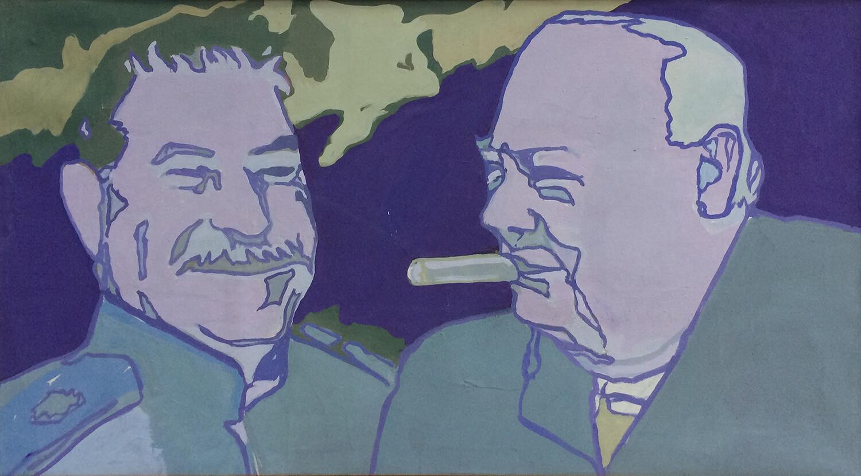 Ulrich Baehr, Gute Freunde, o. J., Leimfarbe auf Leinwand, 69 x 124 cm