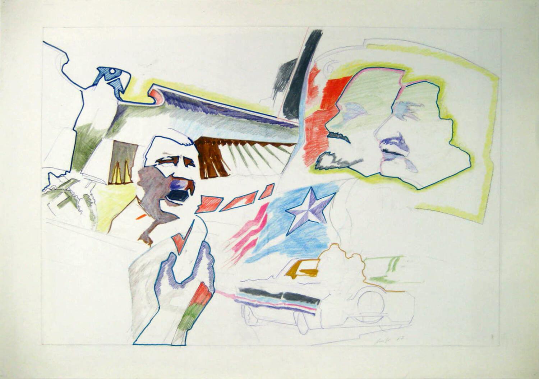 Ulrich Baehr, Monument der Jahrhundertmitte, 1967, Farb- und Bleistift auf Papier, 61 x 86 cm