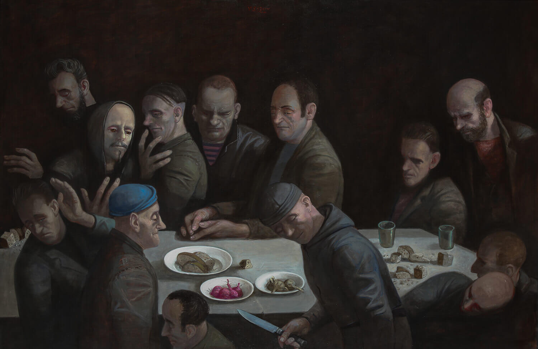 Volker Stelzmann, Abendmahl, 2013, Mischtechnik auf Nessel auf MDF, 120 x 180 cm