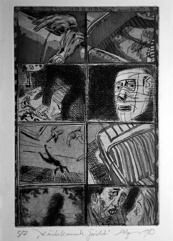 Volker Stelzmann, Das unbekannte Gesicht, 1980, Radierung, Strichätzung, Aquatinta, Auflage: 7, Motiv: 19,5 x 7 cm, Papier: 53,5 x 38 cm