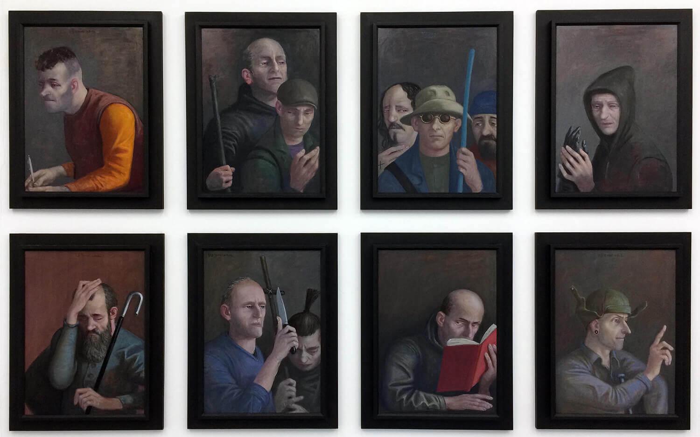 Volker Stelzmann, Die Boten I-VIII, 2018, Mischtechnik auf MDF, je 70 x 50 cm