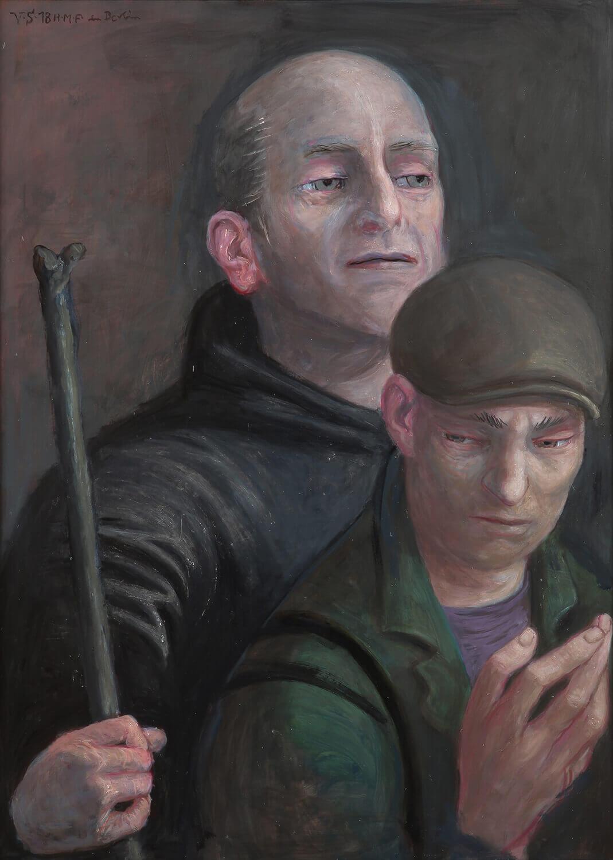 Volker Stelzmann, Die Boten II (Thomas, Judas Thaddäus), 2018, Mischtechnik auf MDF, 70 x 50 cm