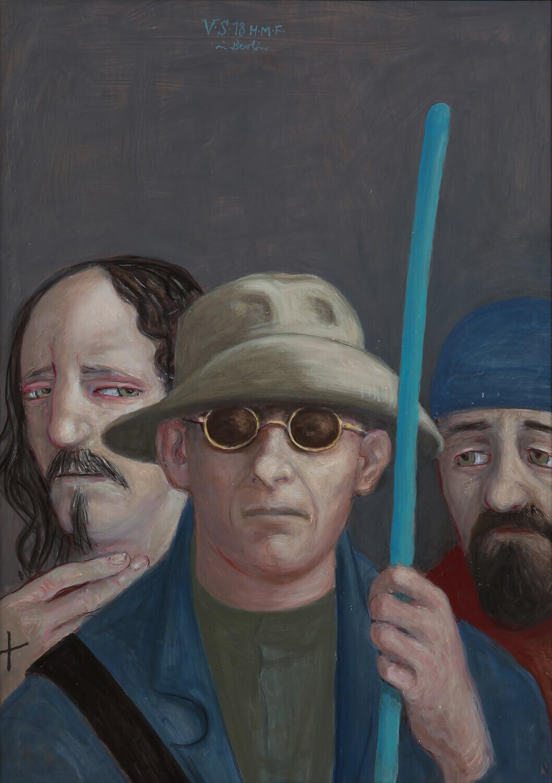Volker Stelzmann, Die Boten III (Simon, Jakobus der Älteste, Andreas), 2018, Mischtechnik auf MDF, 70 x 50 cm