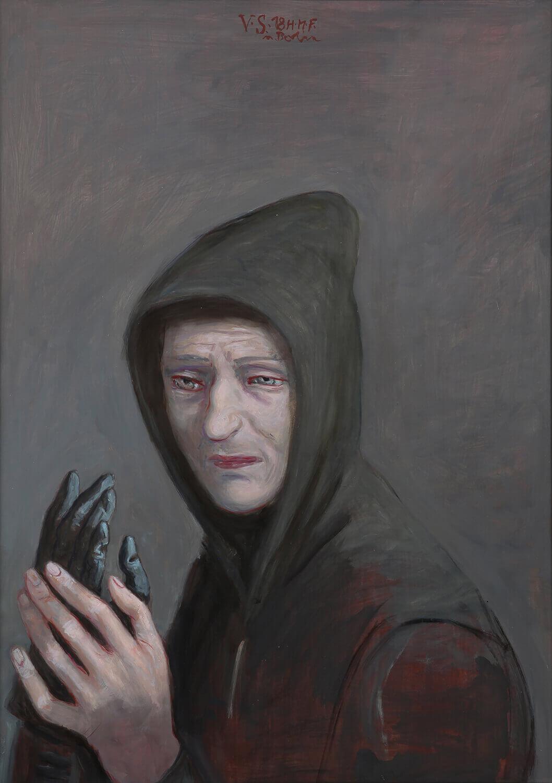 Volker Stelzmann, Die Boten IV (Johannes), 2018, Mischtechnik auf MDF, 70 x 50 cm