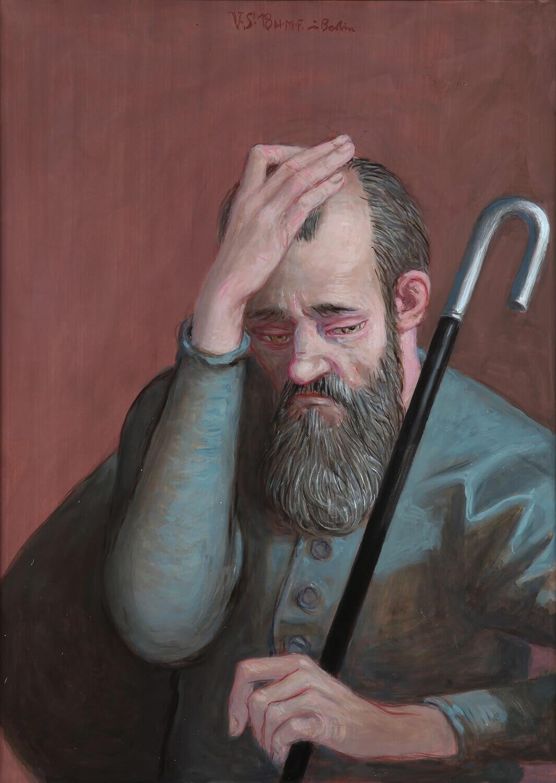 Volker Stelzmann, Die Boten V (Petrus), 2018, Mischtechnik auf MDF, 70 x 50 cm