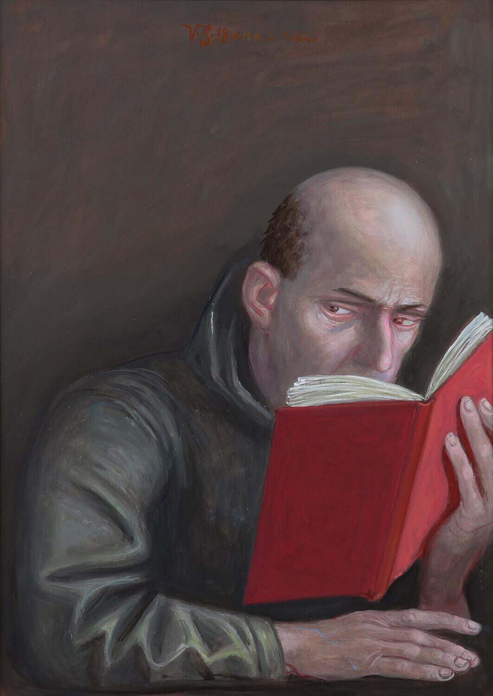 Volker Stelzmann, Die Boten VII (Matthias), 2018, Mischtechnik auf MDF, 70 x 50 cm