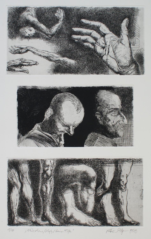 Volker Stelzmann, Hände – Arme/ Köpfe/ Beine – Füße, 1999/ 2013, Radierung, Auflage: 10, Motiv: 47 x 29,5 cm, Papier: 70 x 50 cm