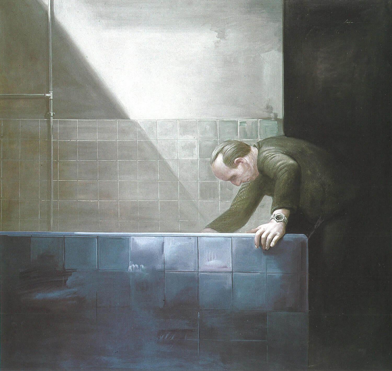 Volker Stelzmann, Für RD, 1980/1981, Mischtechnik auf Hartfaserplatte, 116 x 122 cm