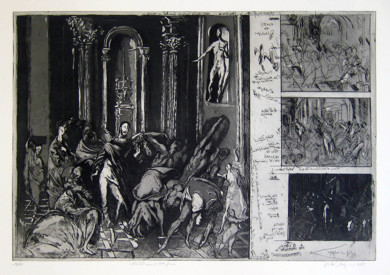 Volker Stelzmann, Für und nach El Greco, 1989, Radierung, Strichätzung, Aquatinta, Auflage: 10, Motiv: 40 x 59,5 cm, Papier: 55,5 x 76 cm
