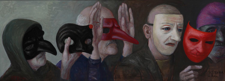 Volker Stelzmann, Selbst mit Masken, 2019, Mischtechnik auf Nessel auf MDF, 45 x 120 cm