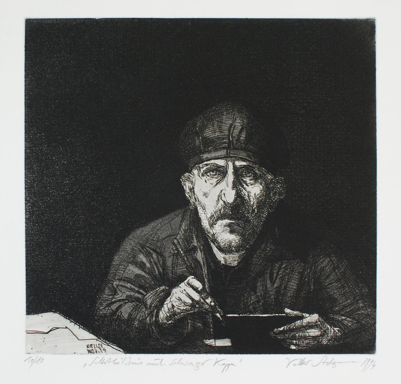 Volker Stelzmann, Selbstbildnis mit schwarzer Kappe, 1994, Radierung, Auflage: 10, Motiv: 27,5 x 28,8 cm, Papier: 53,3 x 50 cm