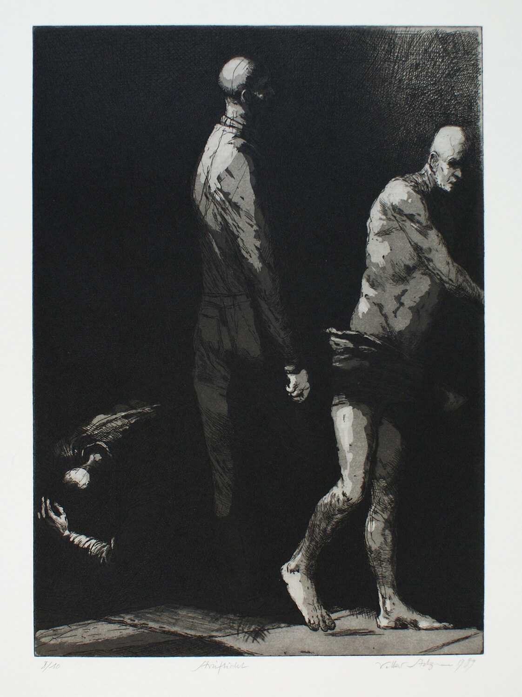 Volker Stelzmann, Streiflicht, 1989, Radierung, Auflage: 10, Motiv: 39,8 x 28,8 cm, Papier: 65 x 50 cm