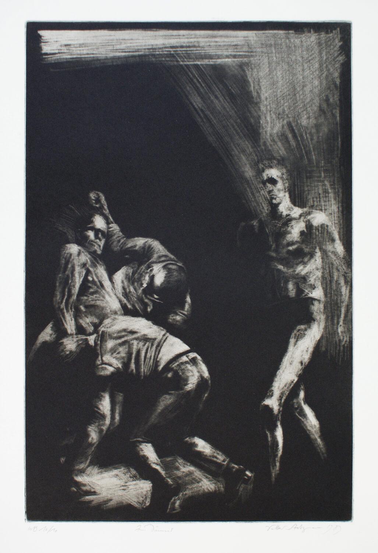 Volker Stelzmann, Zum Dämmer, 1983, Radierung, Auflage: 10, Motiv: 49,8 x 32,5 cm, Papier: 76 x 55,5 cm