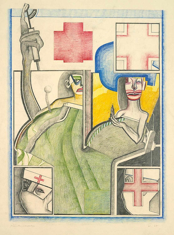 Wolfgang Petrick, Krankenschwestern, 1967, Blei- und Buntstift auf Papier, 90 x 63 cm
