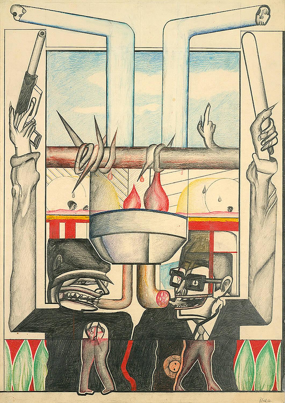 Wolfgang Petrick, Wurstprinz,1967, Blei- und Farbstift auf Papier, 90 x 63 cm